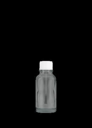 Tropfflasche 20 ml klar mit Pinselschraubverschluss konisch