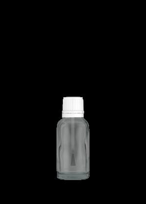 Tropfflasche 20 ml klar mit Pinsel und Originalitätsverschluss