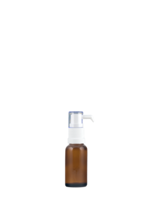Tropfflasche 20 ml braun mit Tropfenspender-Pumpe weiß