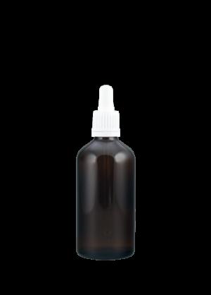 Tropfflasche 100 ml braun mit Pipettenmontur mit Originalitätsverschluss