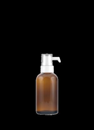 Snap-on-Flasche 50 ml braun mit Tropfenspender-Pumpe mit geschlitzter Schutzkappe
