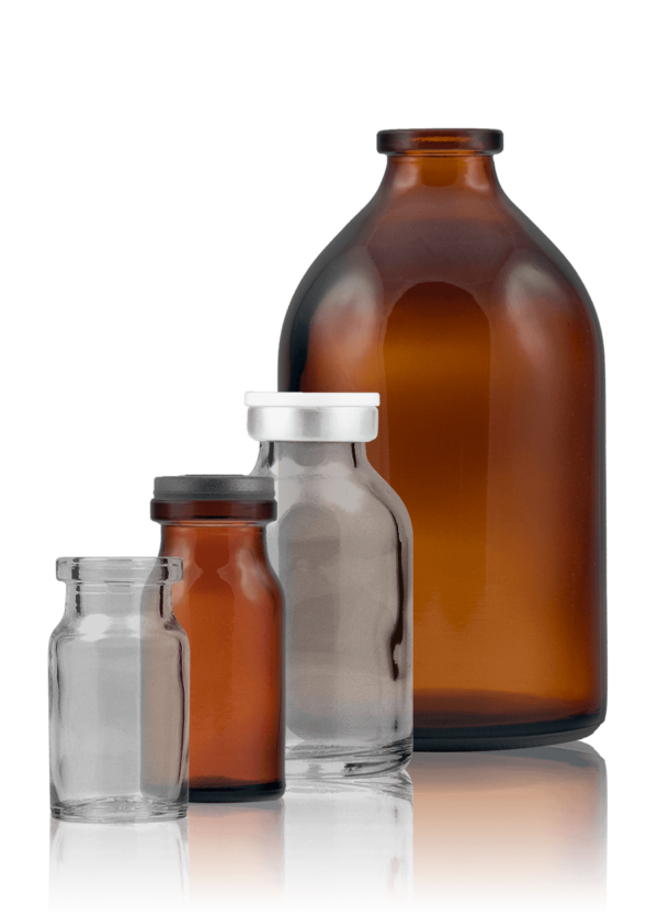 Injection bottle - moulded glass