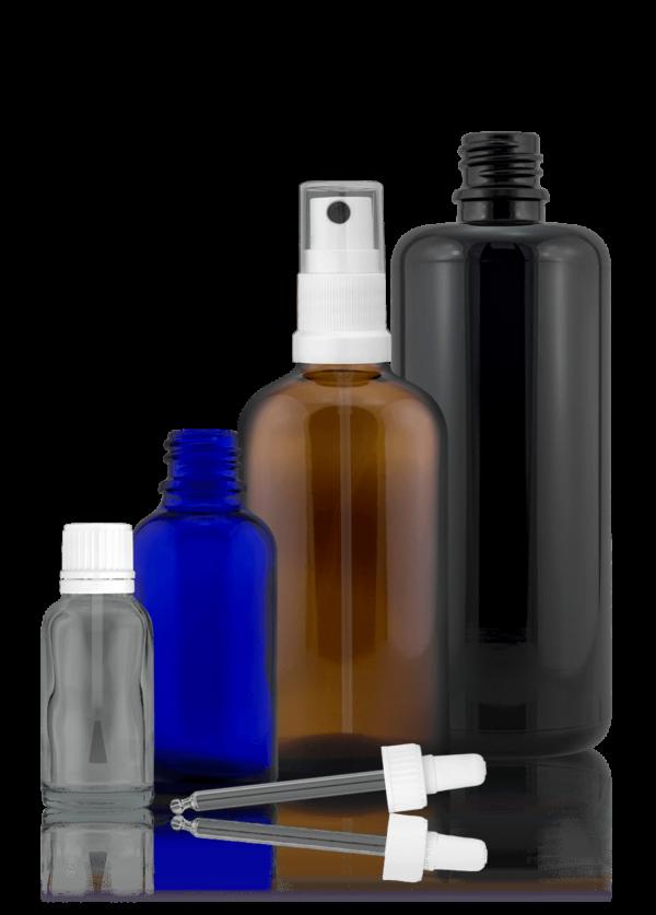 Tropfflasche Glas in unterschiedlichen Größen und Farben
